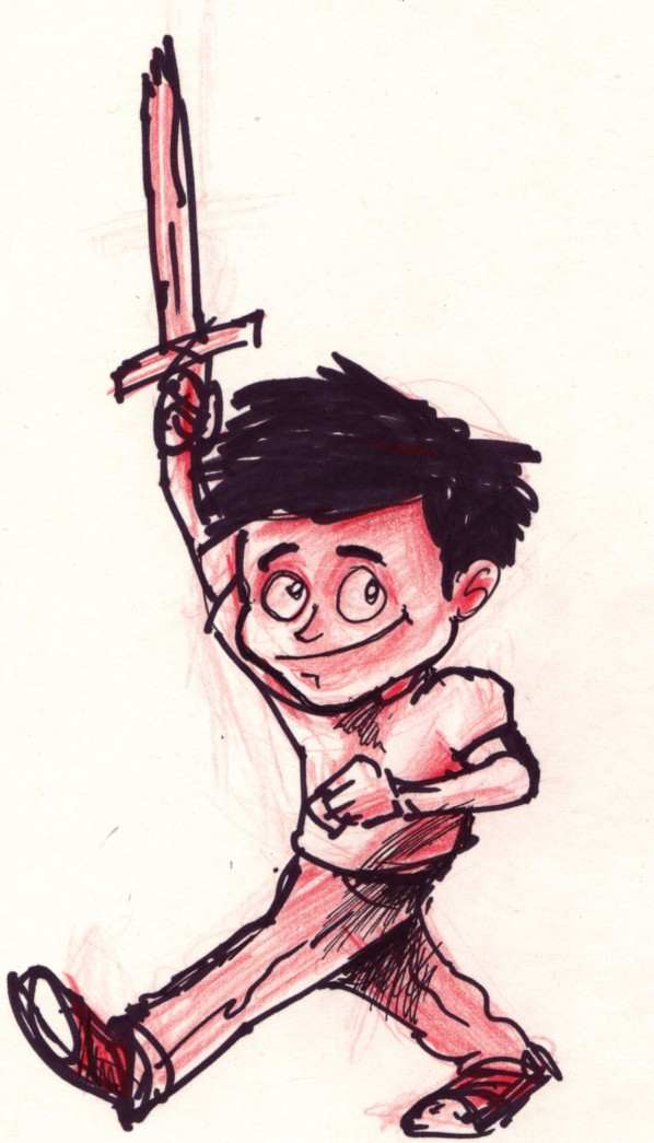Sketch of Boy with Sword