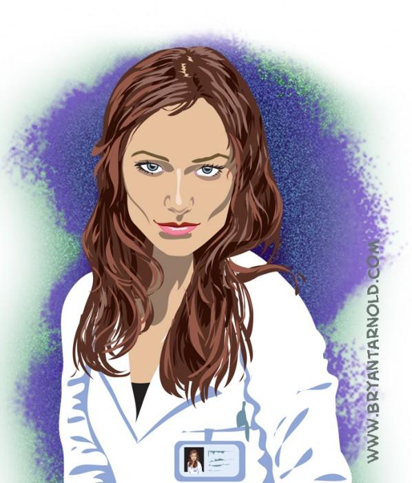 Olivia Wilde as Thirteen cartoon