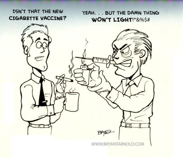 Cigarette Vaccine To Help Smokers Quit Smoking Cartoon Cartoon A Day