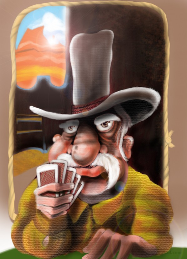 Cowboy With a Poker Face Holding Cards