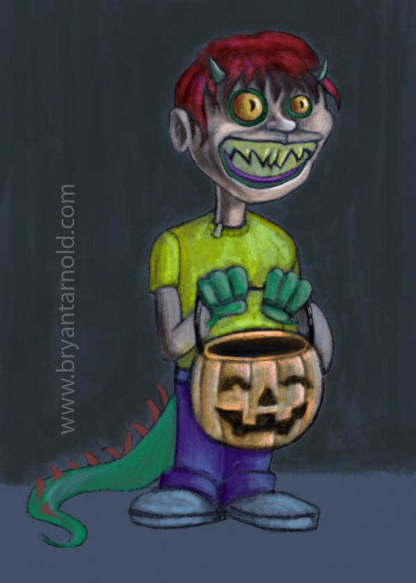 Kid Monster in a Human Costume Trick or Treating on Halloween