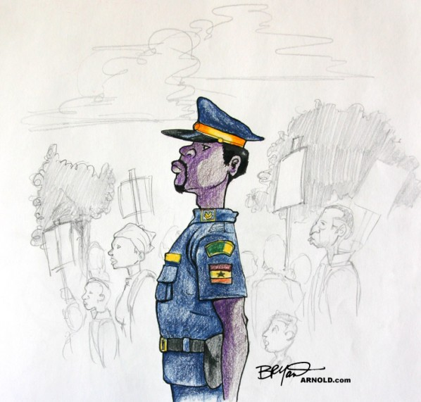 Nigerian Police Officer Stands at Attention