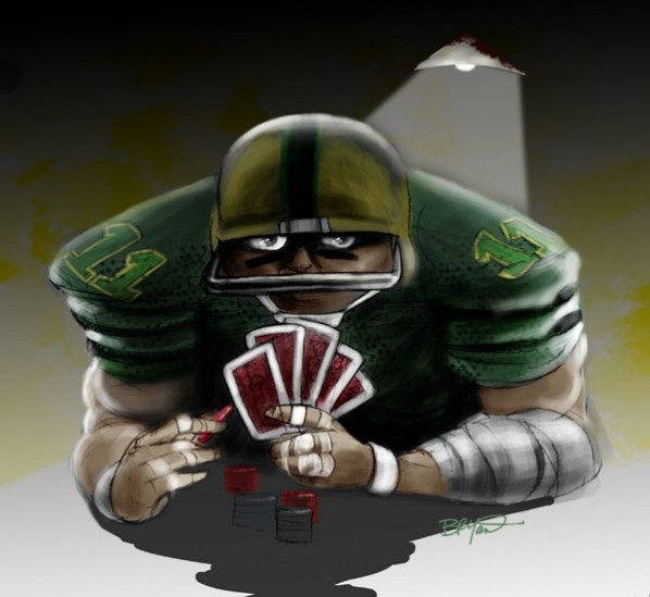 Sports Betting Football Player Playing Poker