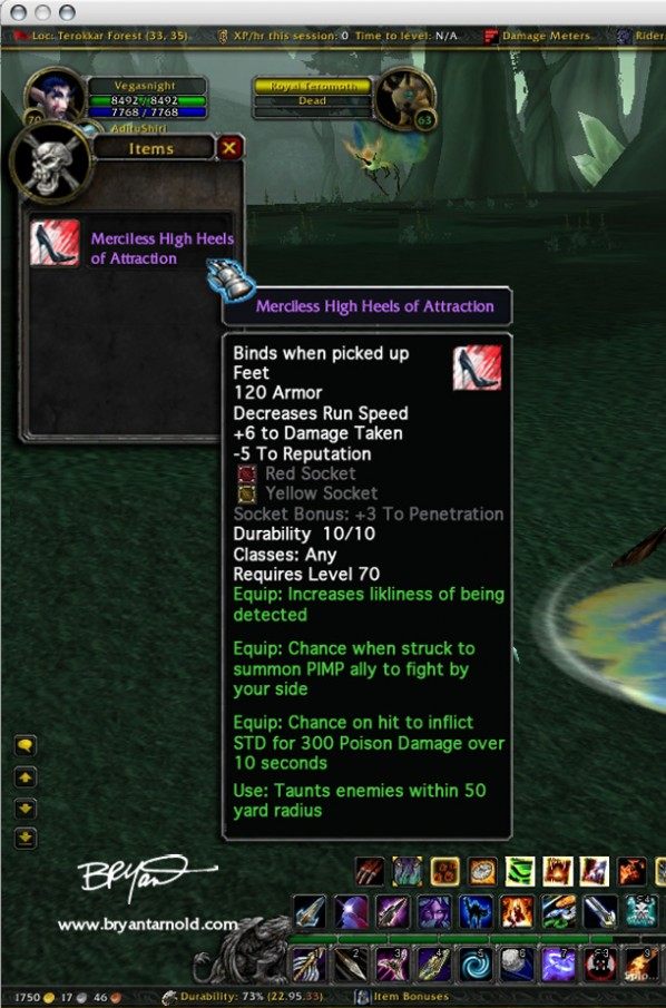 World of Warcraft Merciless High Heels of Attraction Parody Item