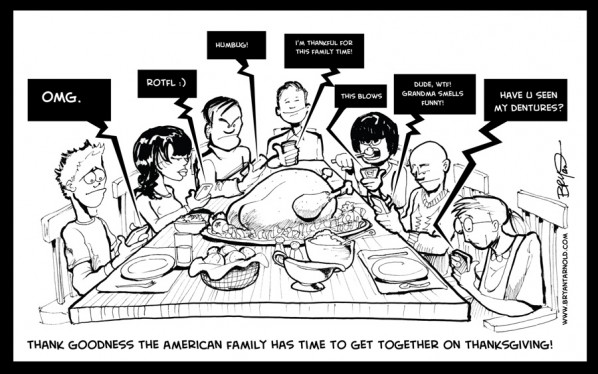 Thanksgiving Table Family Texting