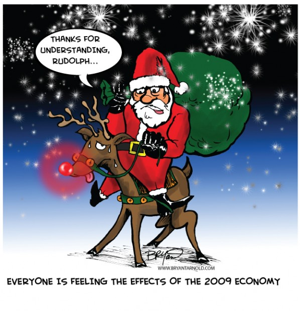 Santas Holiday Cutbacks Riding Rudolph