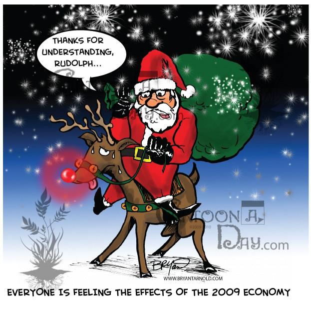santas holiday cutbacks riding rudolph cartoon - Holiday Cartoons Free