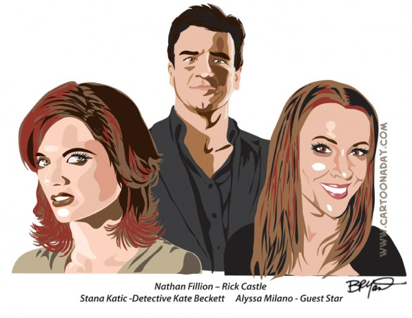 Rick Castle, Detective Beckett, Alyssa Milano