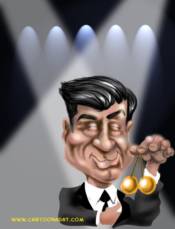 Alec Baldwin Oscar host holding brass balls from Glenn Gary Glenn Ross