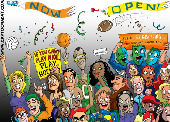 Crowd of Cartoon Sports FansA