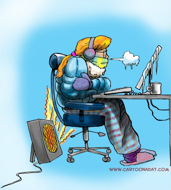 Hot and Cold Office Battle over Climate Control Cartoon