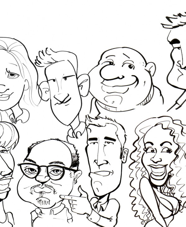 caricature collage panel 2
