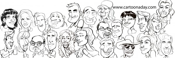 caricature faces collage