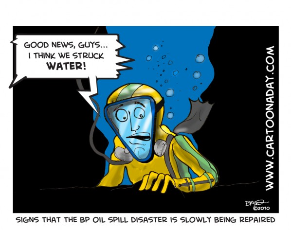 BP Oil Struck Water cartoon