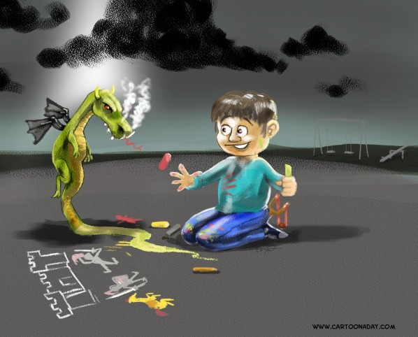 Dragon Kid chalk drawing