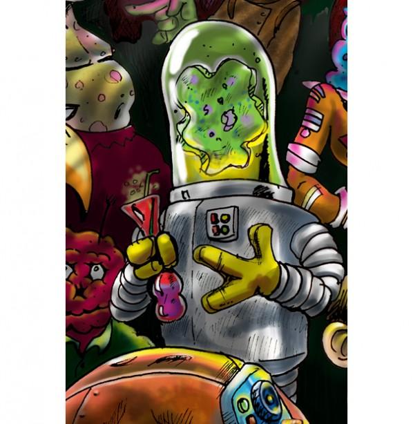 spaceport bar closeup robot