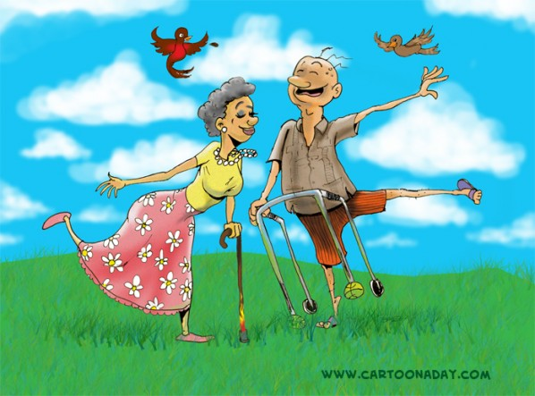 Active Seniors Cartoon-cad