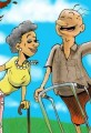 Active Senior Citizen Cartoon