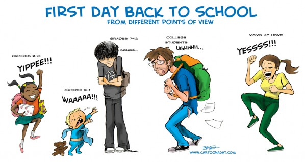 Back to School Cartoon Family