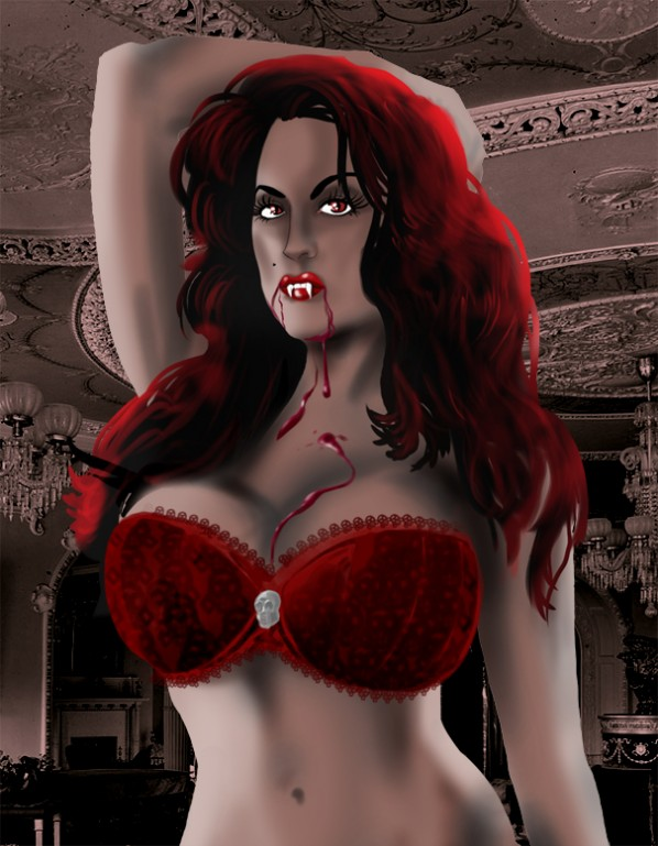 sexy red bra vampire closeup