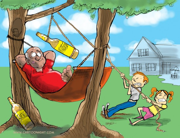 Labor Day Relaxing Cartoon