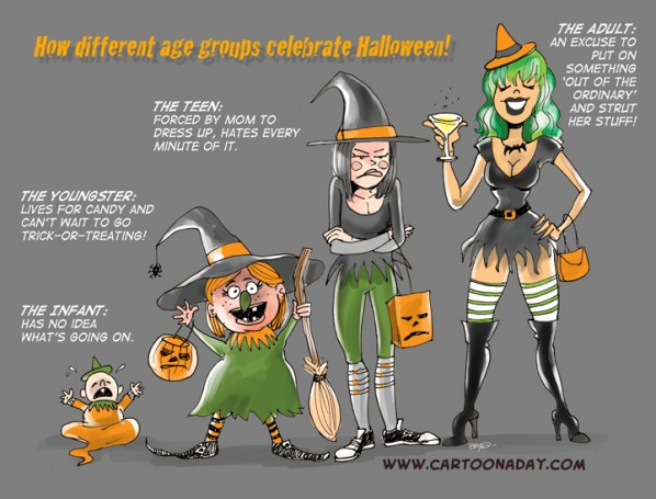 Different Age Groups Celebrating Halloween ❤ Cartoon