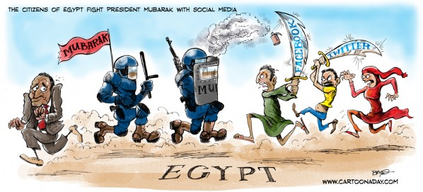 The citizens of Egypt fight President Mubarak with Social Media.