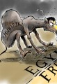 Egypt's Mubarak Stubborn Political Cartoon