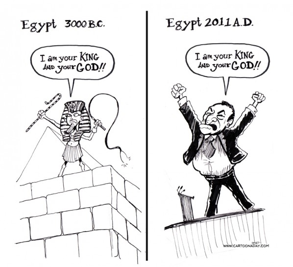 A political cartoon showing Mubarak's absolute power