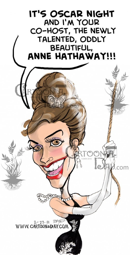 Anne Hathaway and James Franco Oscars Caricatures