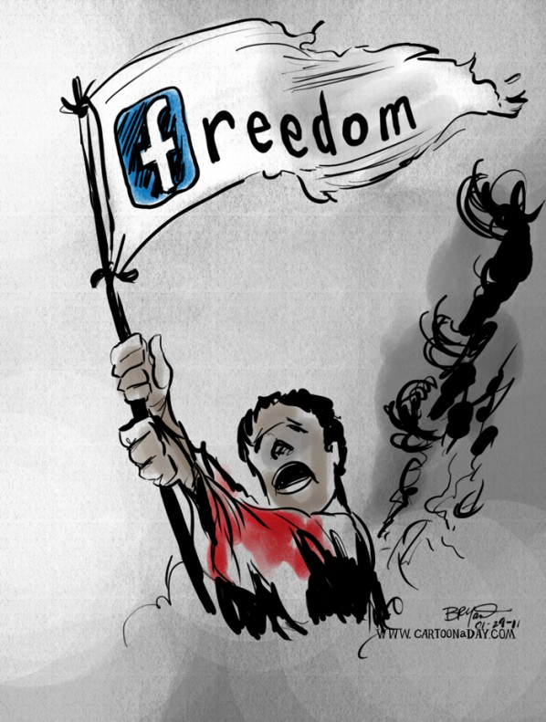 Facebook Freedom Flag Cartoon Egypt