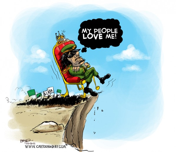 Muammar Gaddafi Thrown Out Cartoon