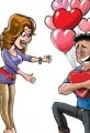 Valentines Day for Her and for Him Cartoon
