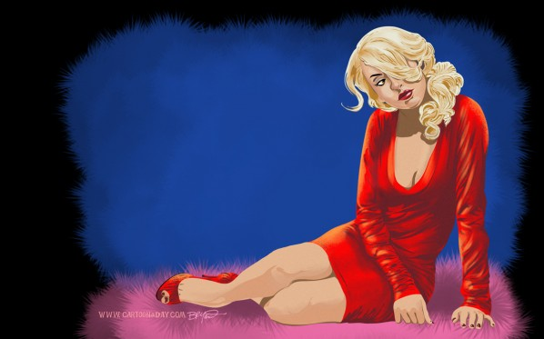 Reclining-Pinup-Red-dress-model