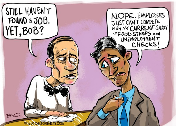 Unemployment Checks Cartoon Conversation