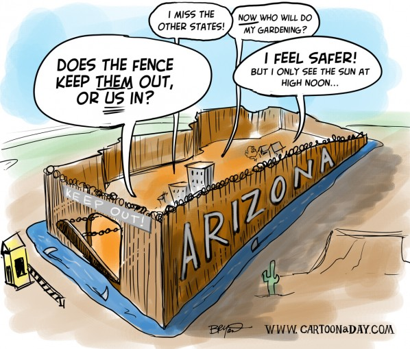 Arizona to Build Border Fence   Cartoon