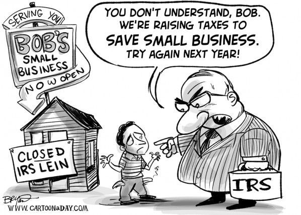 U.S. Government Wants to Raise Taxes to Help Small Business Cartoon
