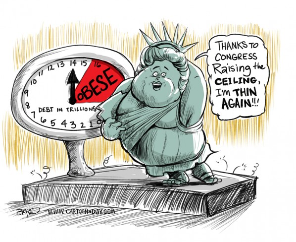 Congress  to Raise Debt Ceiling And Concern Cartoon