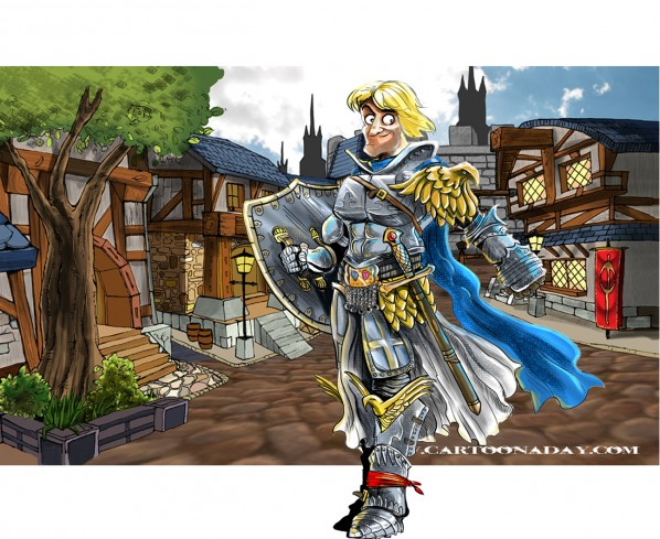Warcraft Paladin in Stormwind Cartoon