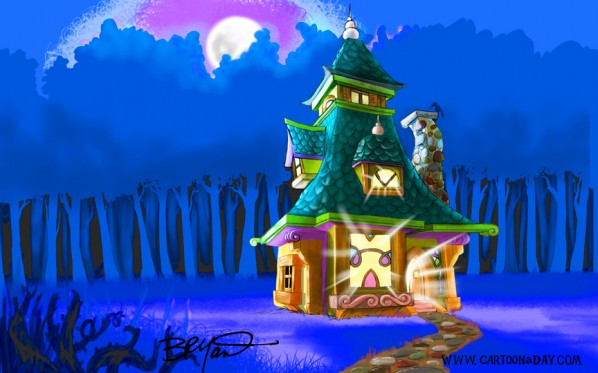 fantasy house illustration-blue