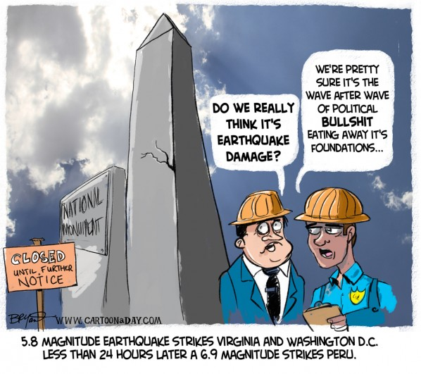 Earthquake Closes Washing Monument Cartoon