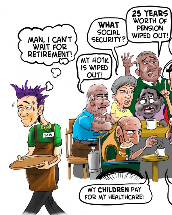 Obamas Retirement Economy Cartoon