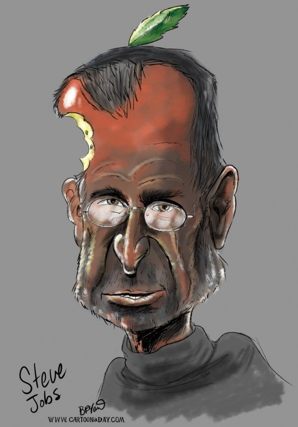 Steve Jobs Head of Apple Quits   Steve Jobs Caricature Cartoon