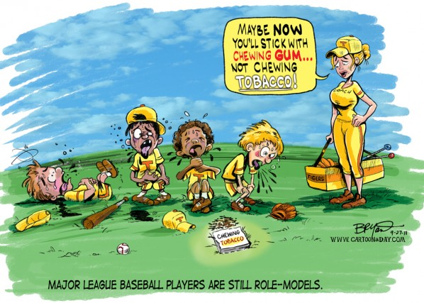 baseball-bans-chewing-tobacco-cartoon