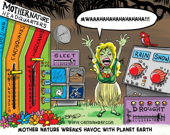 Mother Nature Wreaks Havoc Cartoon