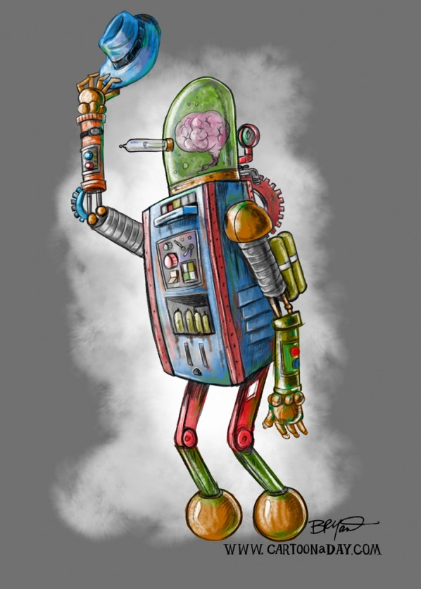 Robot Worker Cartoon