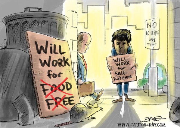 Will Work for Food  Unemployment Cartoon