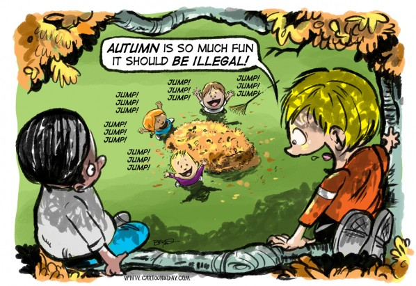 Autumn is Fun Cartoon Kids at Play