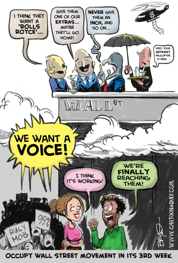 Occupy Wall Street Movement in its 3rd Week Cartoon