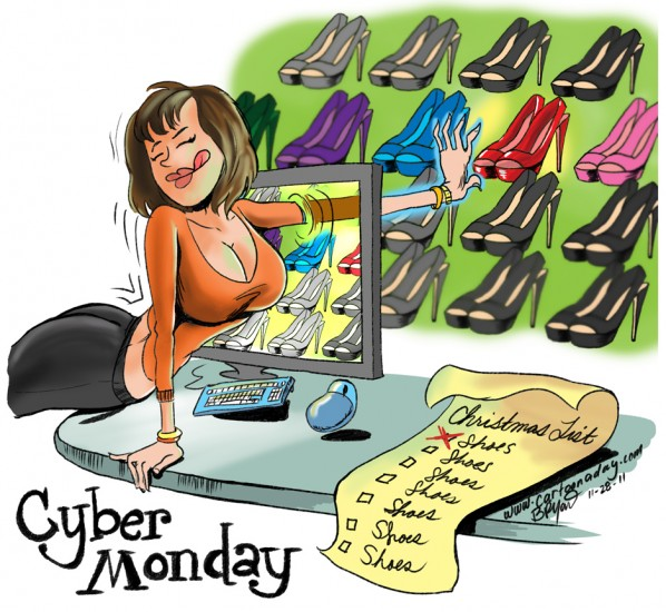 2011 Cyber Monday Sucks in Consumers Cartoon